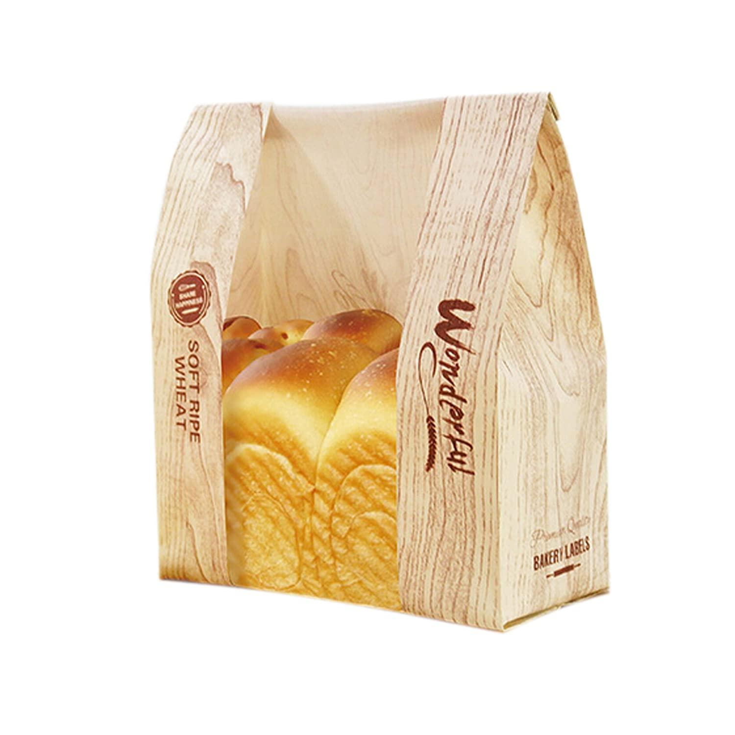 Funcoo Pack of 50 Kraft Food Packaging Paper Bread Bakery Bag with Front Window, Label Seal Sticker Included (Style-2)