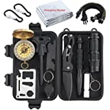Proster Survival Gear 13 in 1 Emergency Survival Kit with Tactical Pen Survival Knife Tactical Flashlight Fire Starter Whistle Paracord Bracelets Survival Tools For Travelling Hiking