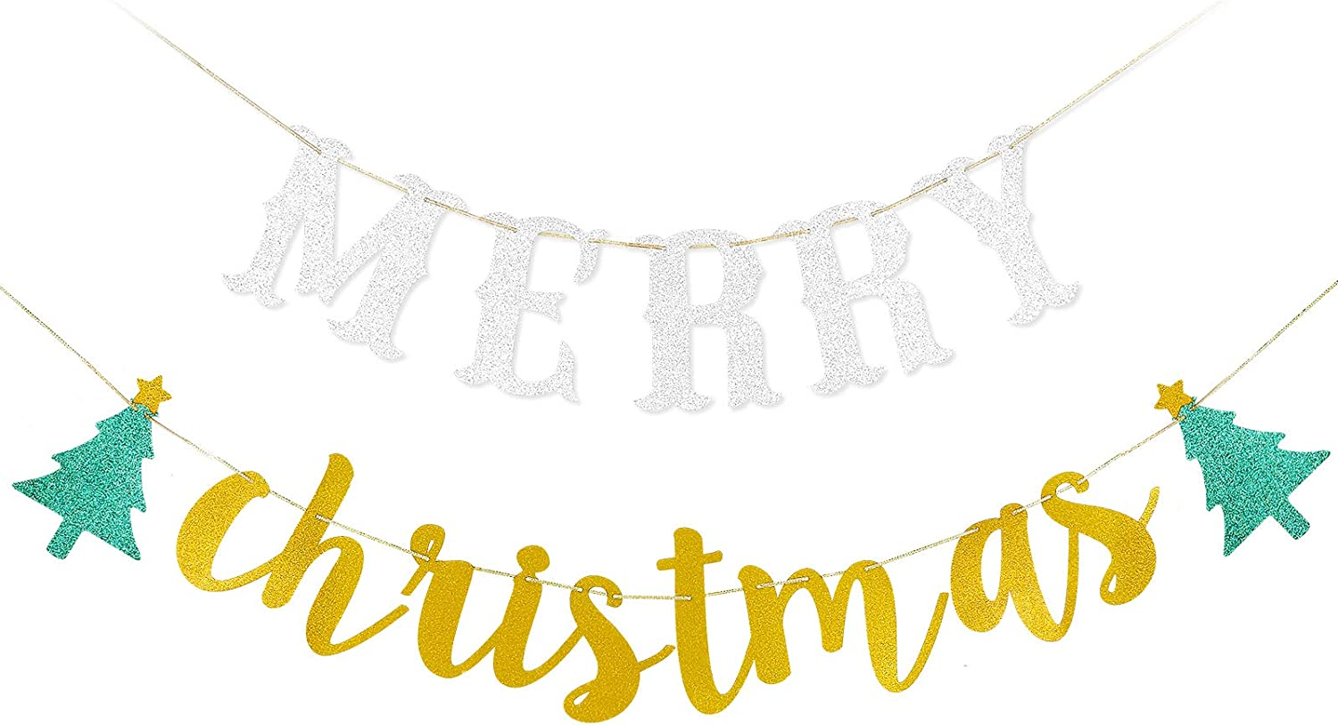 Merry Christmas Silver/&Gold Banner Christmas Holiday New Years Eve Party Decorations,Xmas Mantel Fireplace Home Indoor Outdoor Decorations Supplies
