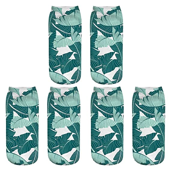 Gysad 3 pares Calcetines tropicales 3d impresos Sano y comodo Calcetines cortos mujer Diseño moderno Calcetines