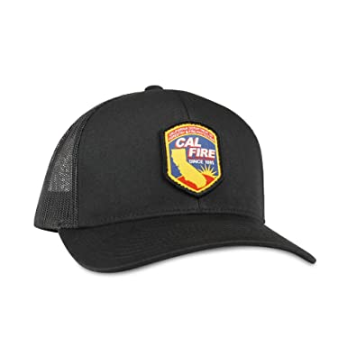 15b58ed76a7399 Cal Fire Hat - Trucker Mesh Snapback Baseball Cap - Black at Amazon ...