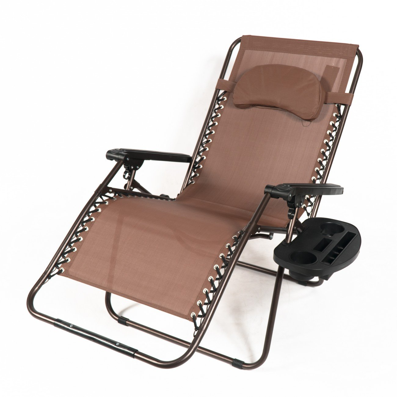 Belleze XL Oversized Zero Gravity Chair Recliner Adjustable Lounge Padded with Pillow Drink Cup Holder, Brown