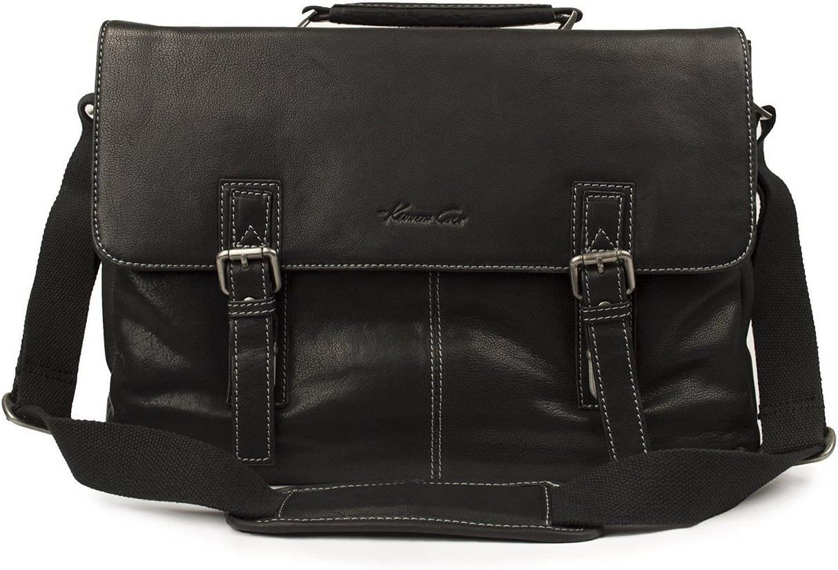 Kenneth Cole Flap-py As Can Be Full Grain Cowhide Leather Double Gusset Flapover 14.1 or 15 Computer Portfolio, Color Cognac Black