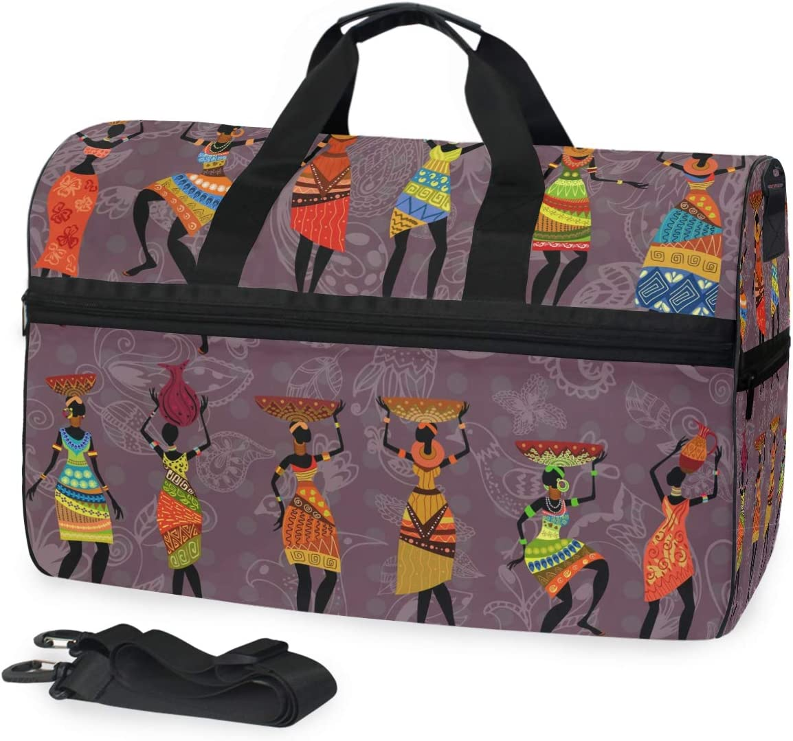 TFONE Ethnic African Woman Duffel Bag Sports Gym Weekend Bags with Shoe Compartmen
