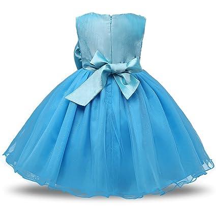 NNJXD Vestido de Fiesta de Princesa con Encaje de Flor de 3D sin Mangas para Niñas: Amazon.es: Ropa y accesorios