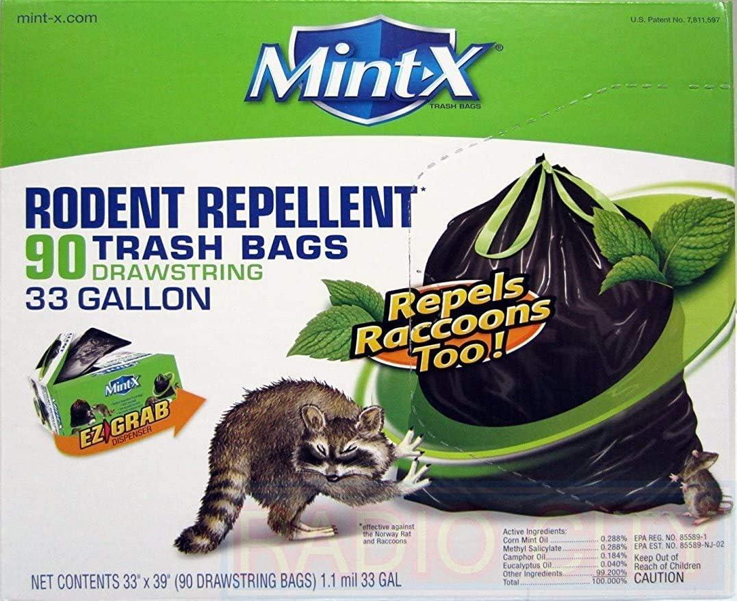 Mint-X Max Max 41% OFF 61% OFF Plastic 33 Gallon Drawstring Bag Trash Rodent Repellent