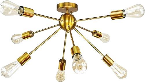 8-Light Sputnik Chandelier Gold Semi Flush Mount Ceiling Light Modern Pendant Light