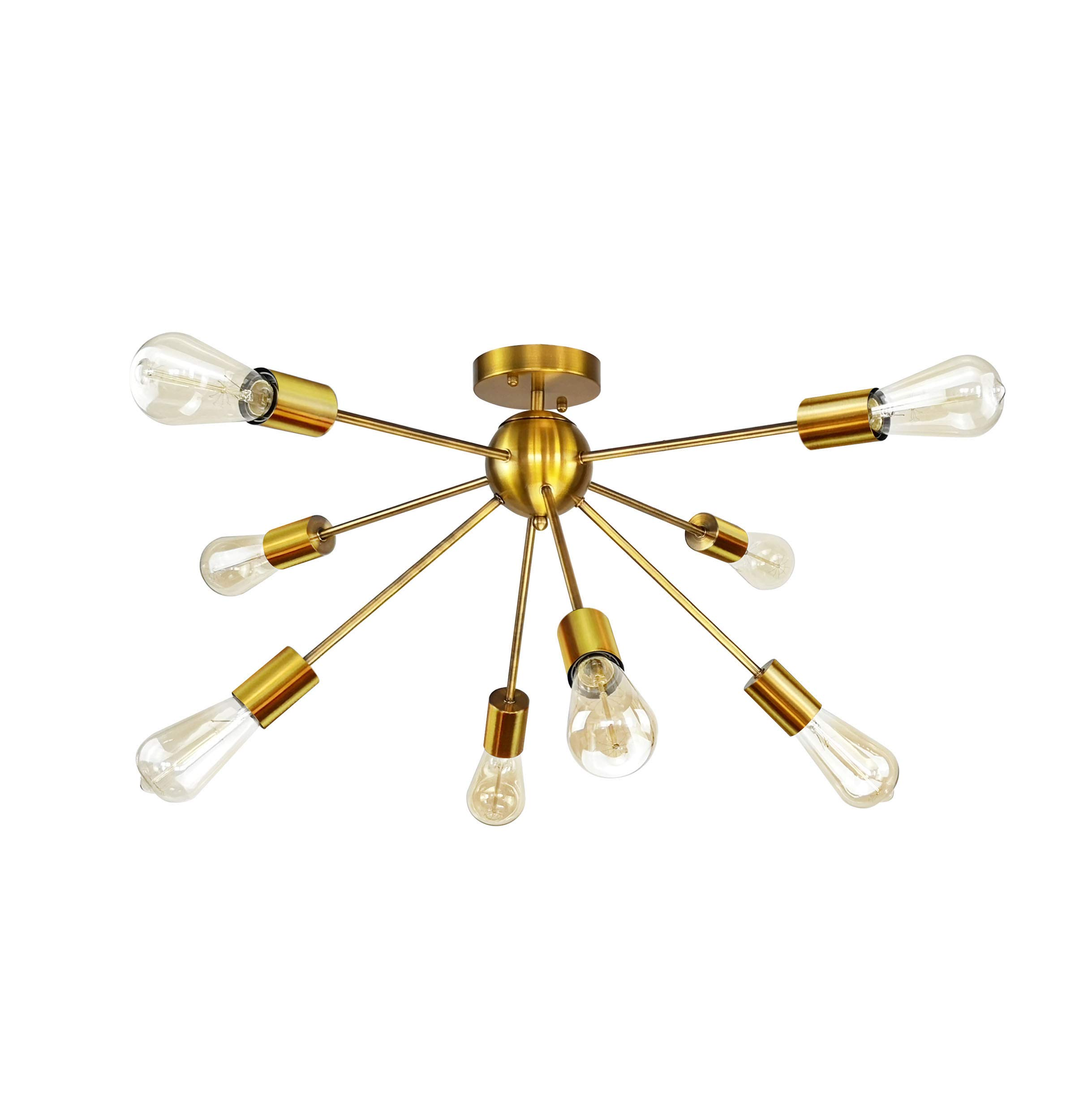 8-Light Sputnik Chandelier Brushed Brass Semi Flush Mount Ceiling Light Modern Pendant Light by LUMANS