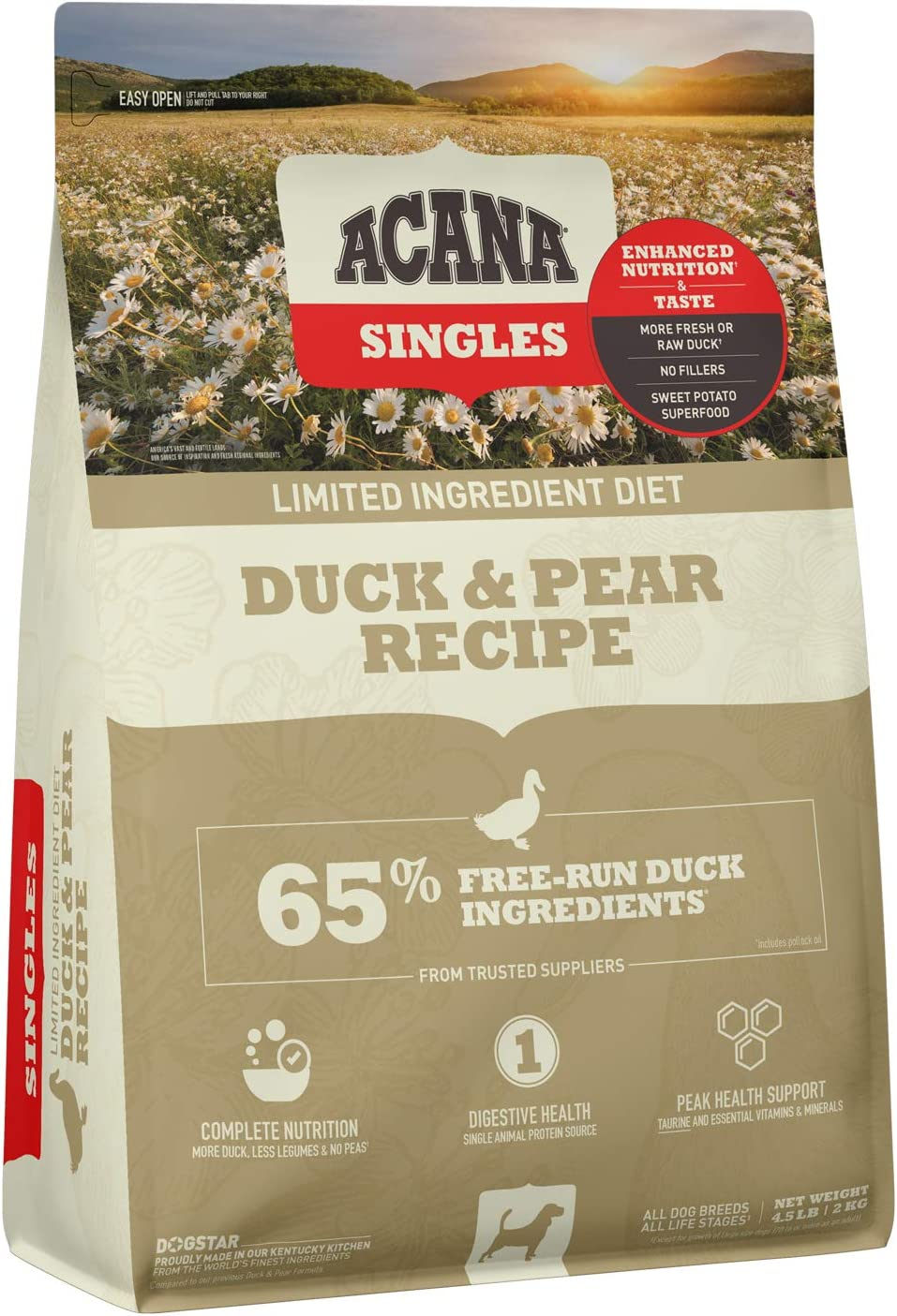 Acana Singles Limited Ingredient Dry Dog Food, High Protein, Complete Nutrition, Digestive Health