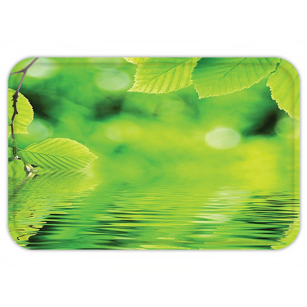 VROSELV Custom Door MatLeaveDecor Collection Leavein the Water Spa Open Your Chakra with Nature Meditation Ecological Monochrome Photo Green