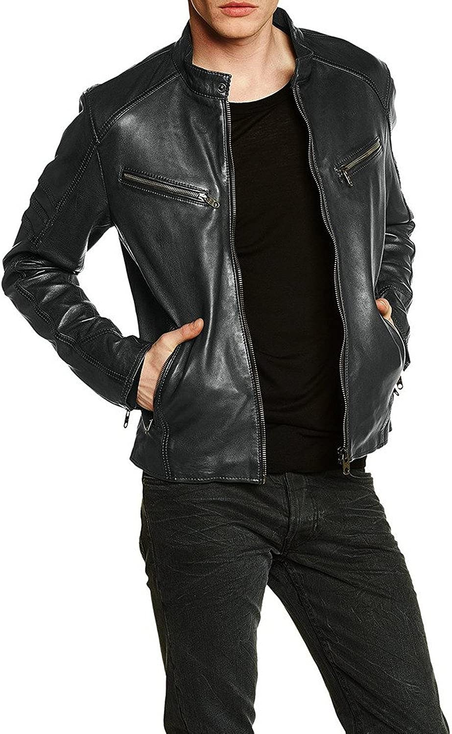 New Mens Leather Jacket Slim Fit Biker Motorcycle Genuine Lambskin Jacket T635