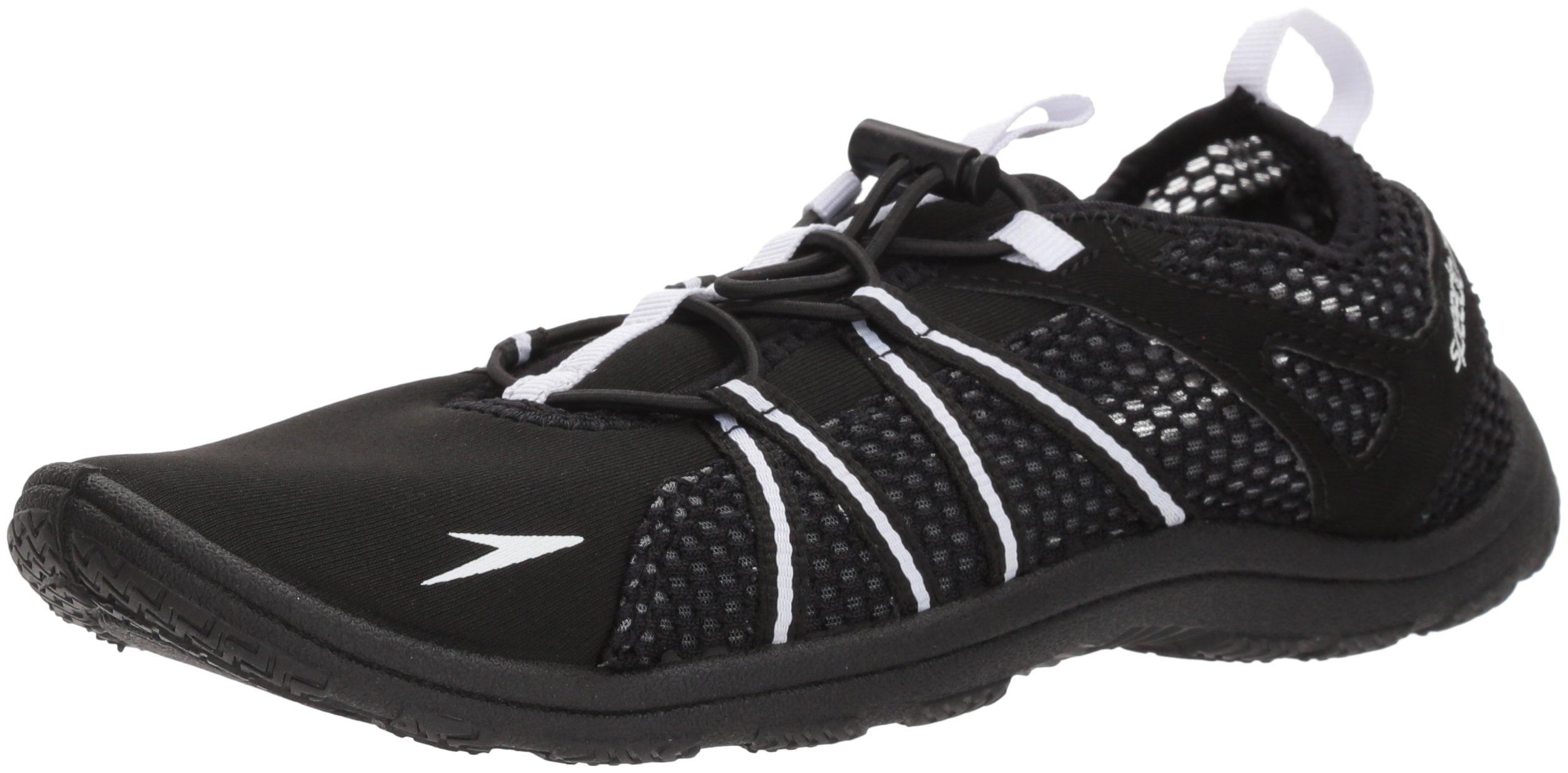 Speedo Women's Seaside Lace Water Shoe, Black/White, 9 C/D US
