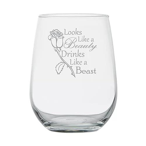 b249a7af33 Looks Like a Beauty Drinks Like a Beast - Disney Princess Wine Glass -17 oz