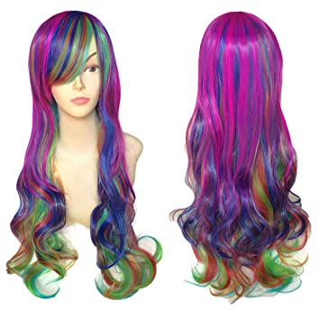 BeautySum Rainbow Wig for Women Kids Girls Curly Heat Resistant Halloween  Long Curly Ombre Wig with b27529f3f98b