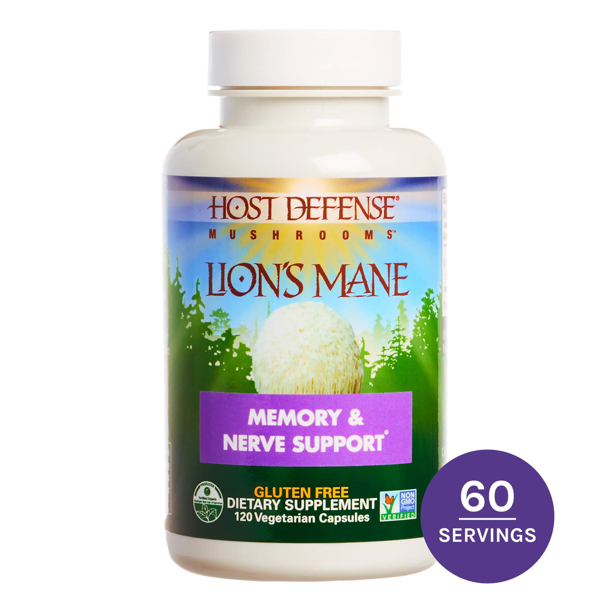 Host Defense, Lion's Mane Capsules, Promotes Mental Clarity, Focus and Memory, Daily Mushroom Supplement, Vegan, Organic, Gluten Free, 120 Capsules (60 Servings) by Host Defense