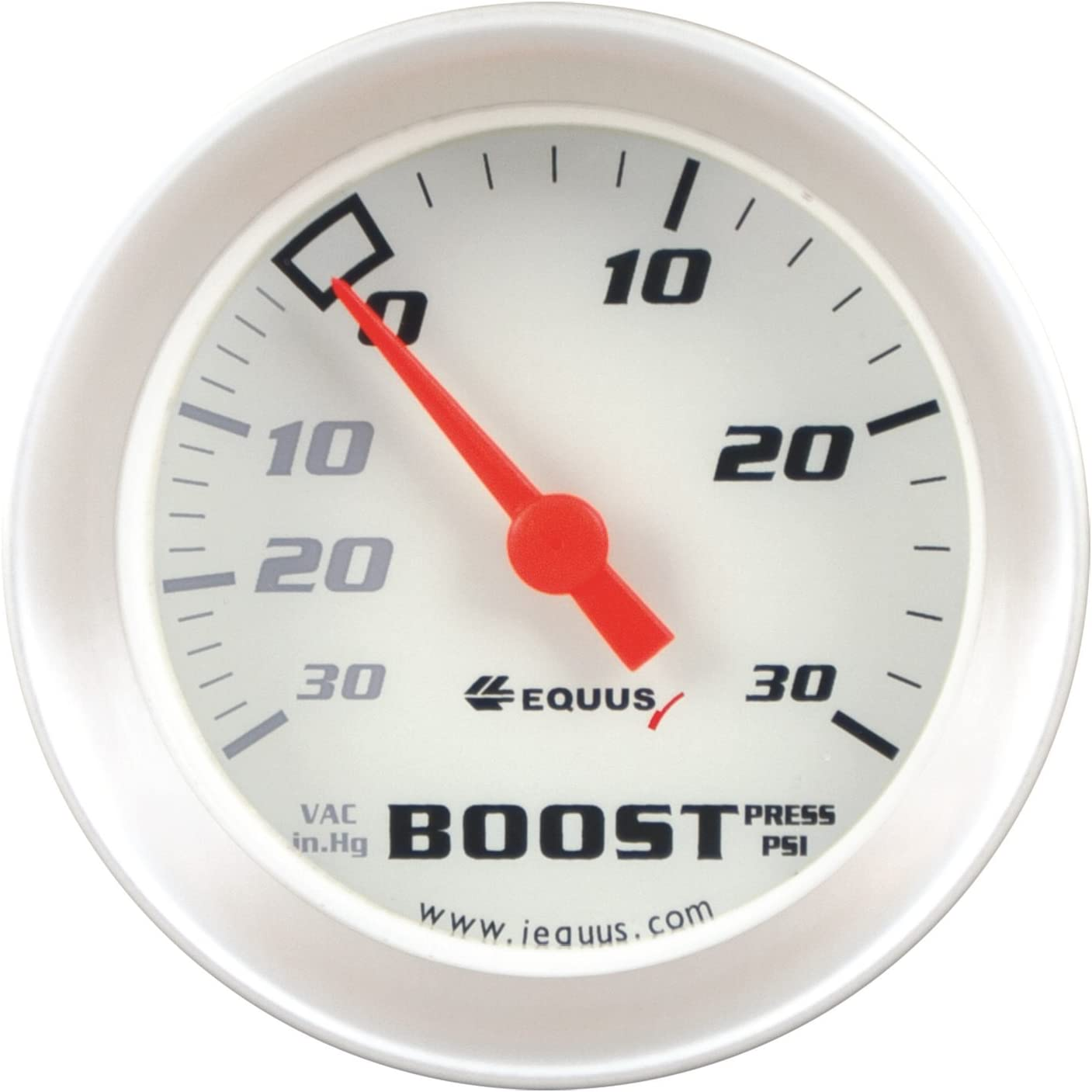 "Equus 8257 2"" Vacuum/ Boost Gauge, White with Aluminum Bezel"