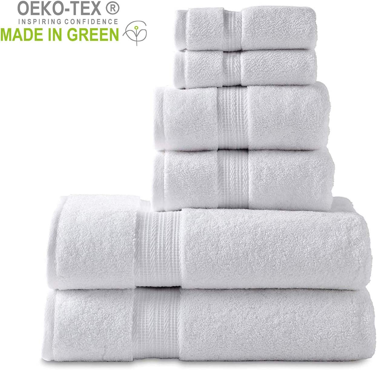 "804 GSM 6 Piece Towels Set, 100% Cotton, Premium Hotel & Spa Quality, Highly Absorbent, 2 Bath Towels 27"" x 54"", 2 Hand Towel 16"" x 28"" and 2 Wash Cloth 12"" x 12"". White Color"