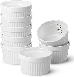 BTäT- Ramekins, Set of 8, Ramekins for Baking, Ramekins 8 oz, Ramekin with Measurement Markings, Creme Brulee Dishes, Souffle Cups, Custard Cups, Ceramic Bakeware, Souffle Dish, Small Ceramic Bowl