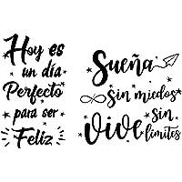 2pcs Pegatinas Pared Vinilos Frases Letras Motivadoras Español Stickers Adhesivos Negro Decoración Habitación Dormitorio…