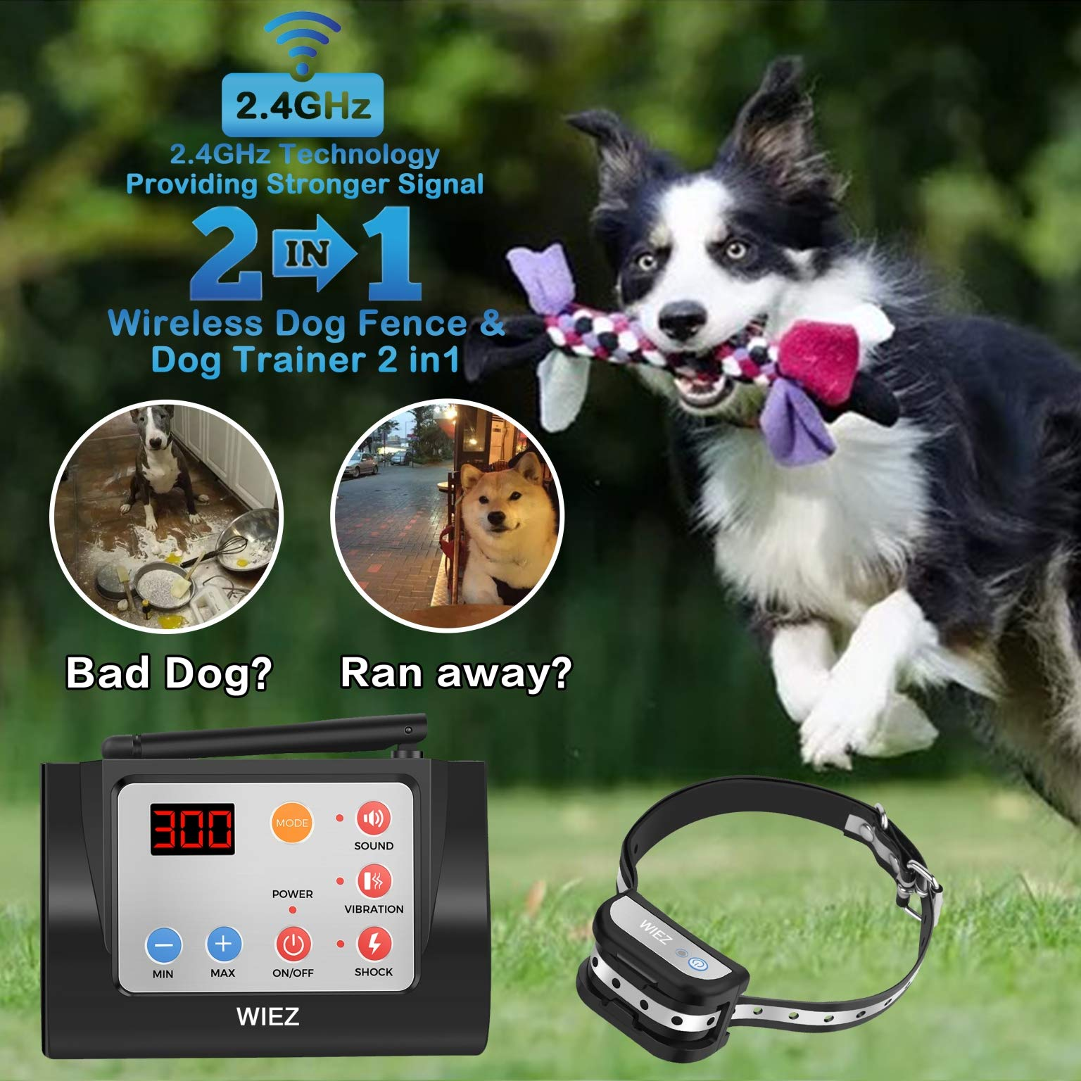 WIEZ Dog Fence Wireless & Training Collar Outdoor 2-in-1, Electric Wireless Fence for Dogs w/Remote, Adjustable Range Control, Waterproof Reflective Stripe Collar, Harmless for All Dogs