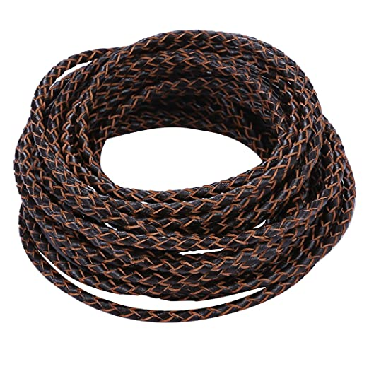 Boruo Brand 3mm Round Folded Bolo PU Braided Leather Cord For Necklace Bracelet Jewelry Making (5m Brown Color)