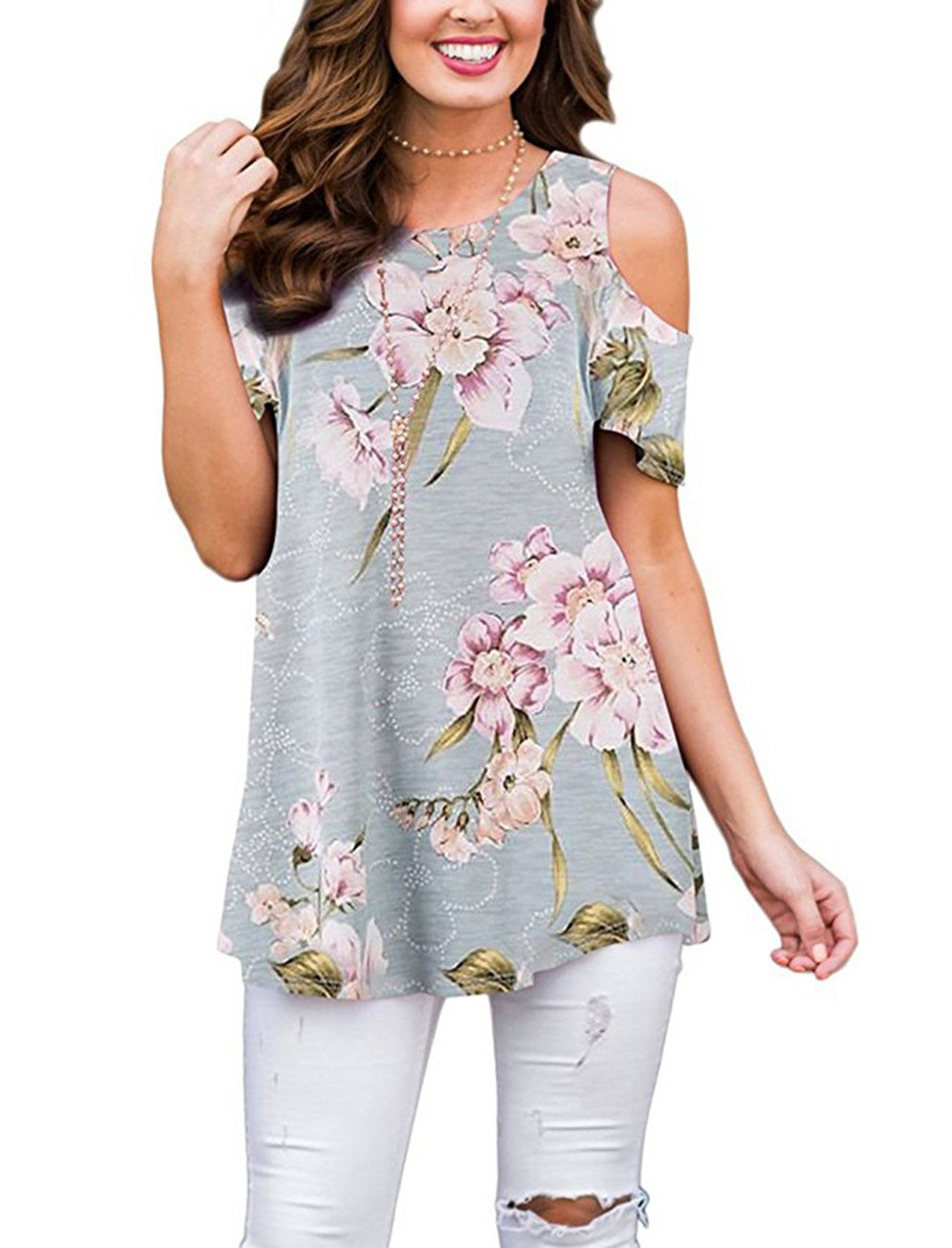 7f1e753227370 Women floral printed loose fit long flowy tunic tops and blouses,95%  Polyester/5% Spandex,Soft,Lightweighted and Comfortable Unique flattering  tee shirt ...