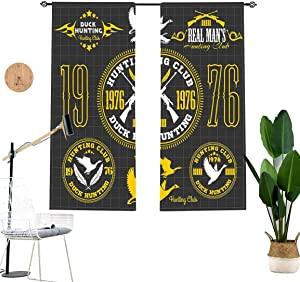 Hunting Window Valance,Vintage Club Emblem from 1976 Hobby of Duck Hunting Themed Labels Short Curtain for Kitchen Bedroom Decor with Rod Pocket,2 Panel Set,W29 x L24 Each Panel