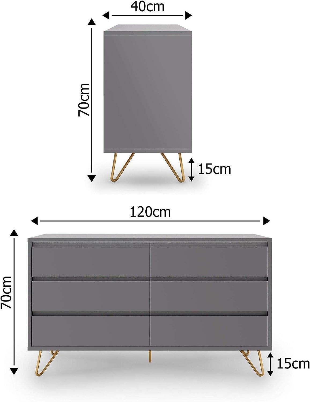 MOBILIER DECO Commode /Équip/ée De 6 Tiroirs Gris Moderne Eloise