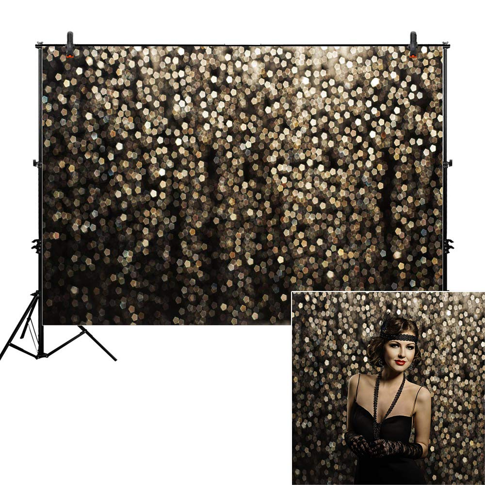 Allenjoy 8x6ft Gold Bokeh Spots Backdrop for Selfie Birthday Party Pictures Photo Booth Shoot Graduation Prom Dance Decor Wedding Vintage Astract Glitter Dot Studio Props Photography Background