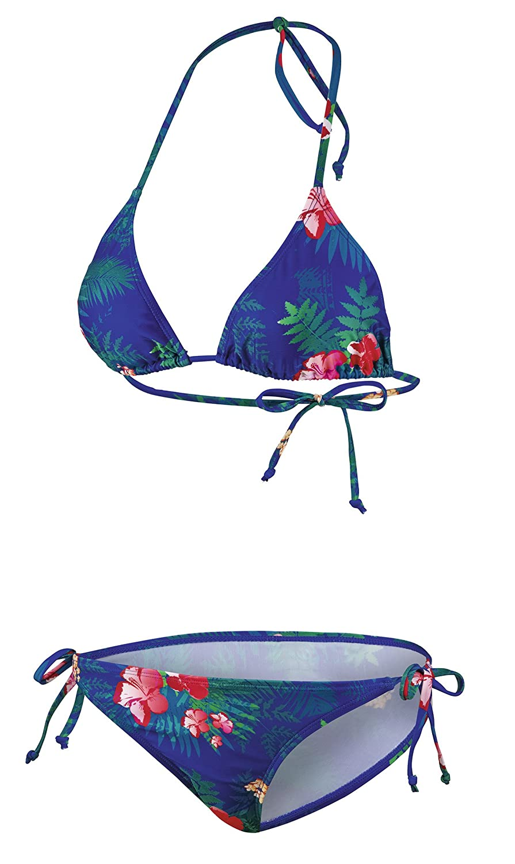 BECO Damen Triangel Side Tie C-Cup Hawaii Look Bikini, Blau, 40