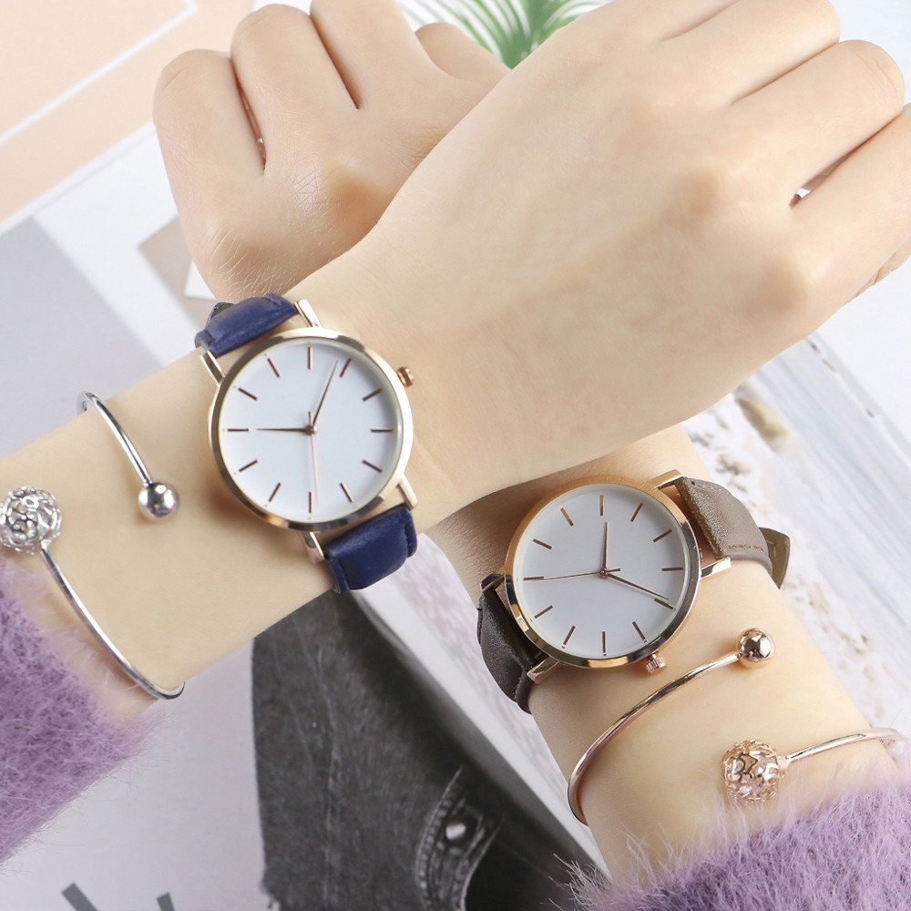 Amazon.com: Watch, Womens Watch, Simple Leather Analog Alloy Quartz Wrist Watch Retro Exquisite Luxury classic Bracelet Casual business Watches For Ladies ...