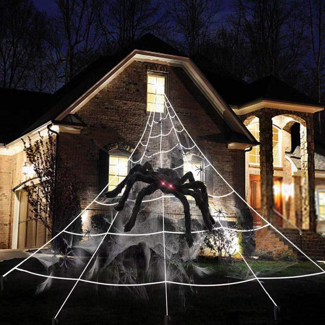 BIGEVE Outdoor Halloween Decorations Giant Halloween Spider Web Decoration 16 5ft Spider Web with 19 7 inch Hairy Spider Stretch Spider Web 10