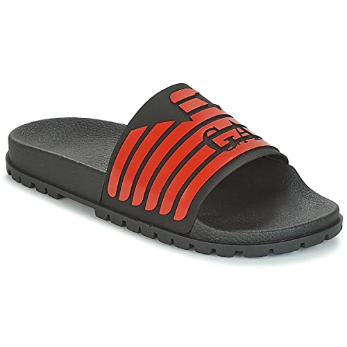 382b3b22c41 EMPORIO ARMANI Eagle Logo Slide Sandals Black  Amazon.co.uk  Shoes ...