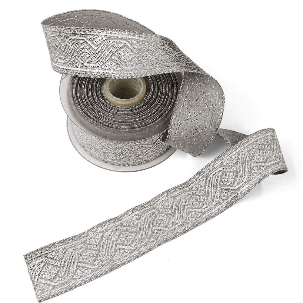 11 Yard Roll of Viktor 1 5/8'' Silver Lurex and Cotton Jacquard Military Trim, Made in Italy by Bias Bespoke