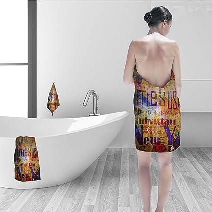 Remarkable Amazon Com Nalahomeqq Bath Towel Set Nyc Decor Grunge Style Download Free Architecture Designs Scobabritishbridgeorg