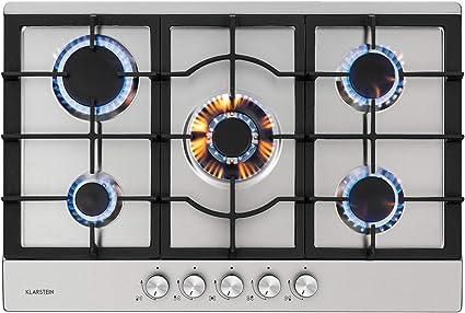 Klarstein Ignito - Placa de cocina a gas, Autárquico, Quemador Sabaf, Gas natural/propano, Válvula de seguridad, Autoapagado, Vitrocerámica, Rejillas ...
