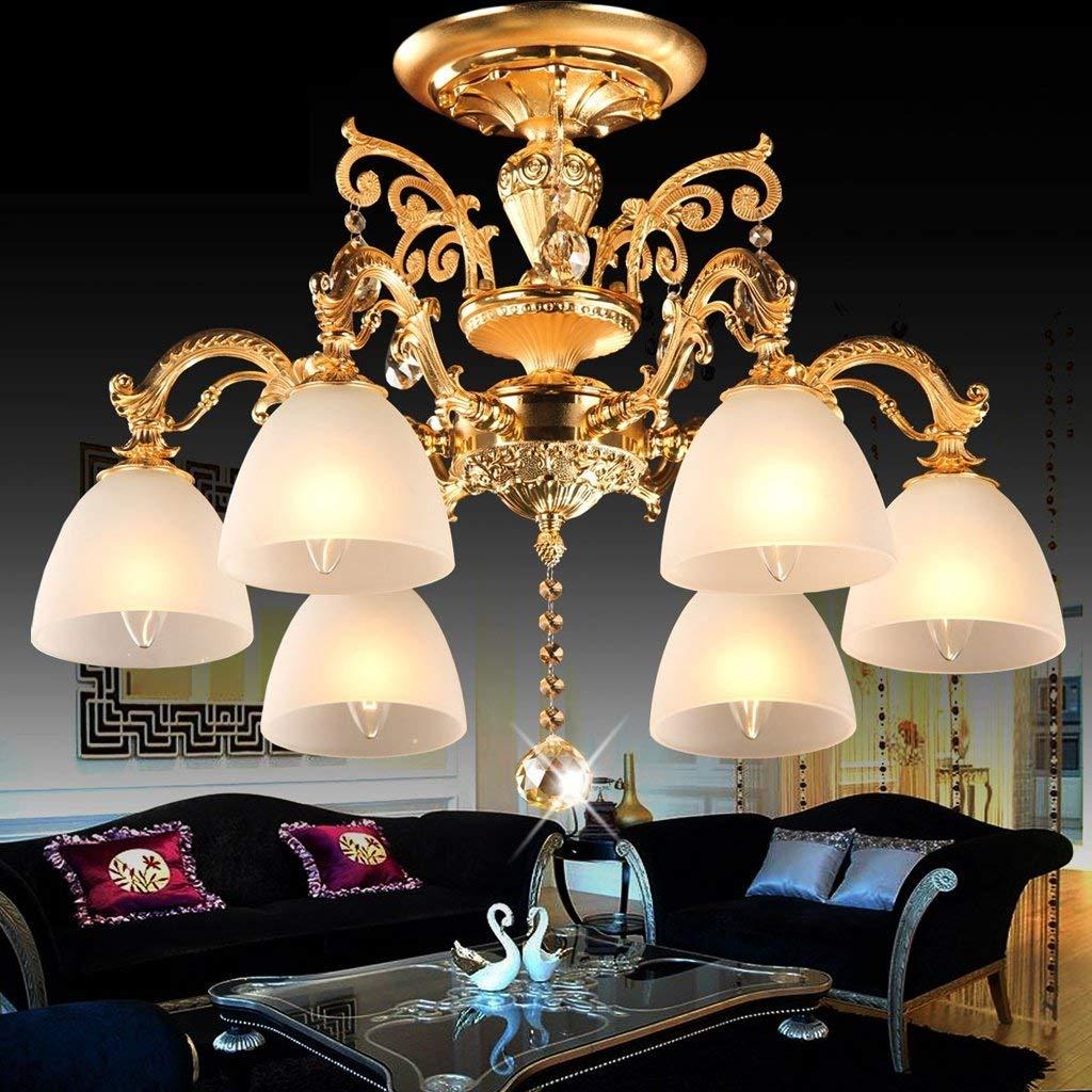 FXING Europäische Beleuchtung Wohnzimmer mit modernen Gold Kristall Lampe Schlafzimmer Deckenleuchte Restaurant Leuchten/E 27.