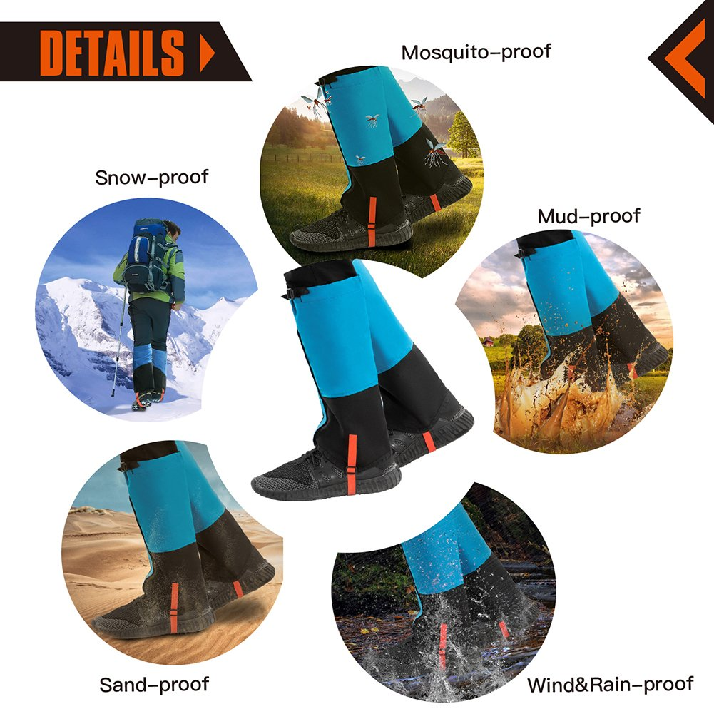 KingCamp Unisex Ultra-Light Waterproof Outdoor Hiking Walking Climbing Hunting Snow Legging Gaiters (1 Pair) (Blue, L)