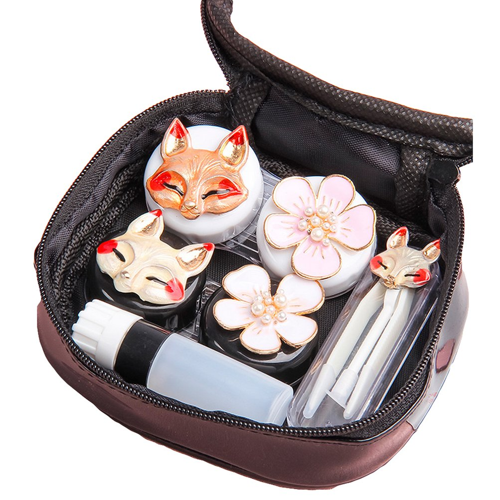 Eye Contacts Contact Lens Cases Portable Travel Kit Set with Tweezers Container Holder Mirror Box-Fun Fox Animal &Flora Flower Designs Decorative-Easy Carry