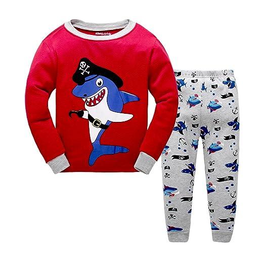 ee5501ba3302 Amazon.com  Boys Pajamas Shark pirates Children Pjs Kids Rib Long ...