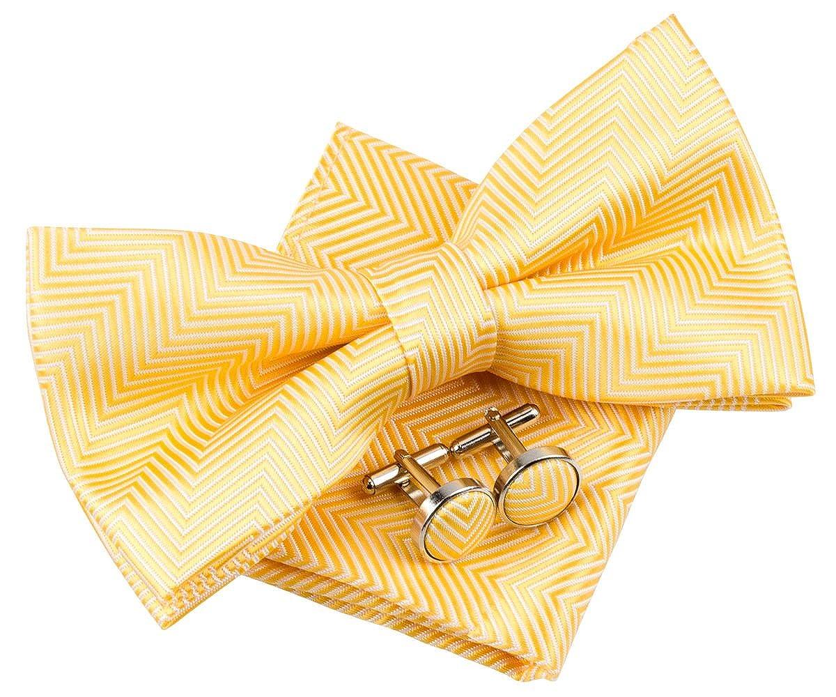 Herringbone rayas Tejido PRE-TIED BOW TIE W//bolsillo cuadrado /& gemelos Set de regalo 5/