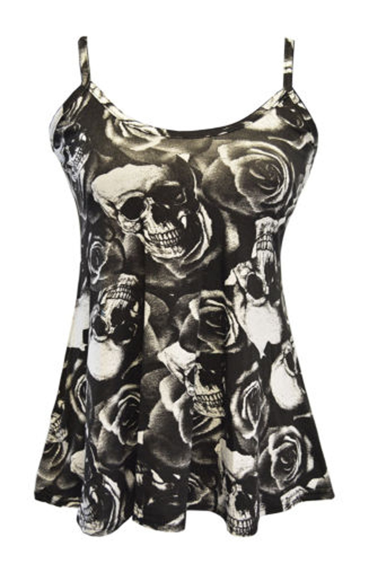 FashionMark Women's New Strappy Skull Rose Print Camisole Vest Top (SM=4/6, Black)