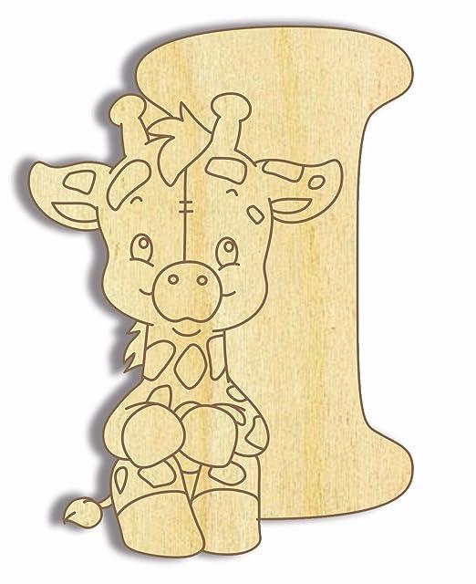 Holzbuchstaben Buchstabentiere 10cm H/öhe Holz-Buchstabe Farbklecks Collection Holzbuchstabe Giraffe M