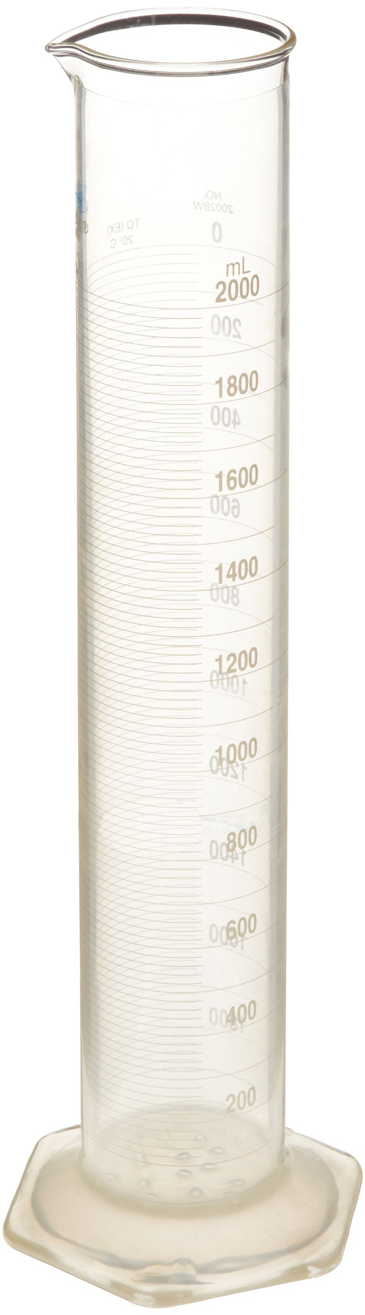 Kontes KC20028W-1000 Borosilicate Glass Class A Graduated Cylinder with Bumper Gaurd, Single Metric Scale, Calibrated To Deliver, 1000mL Capacity