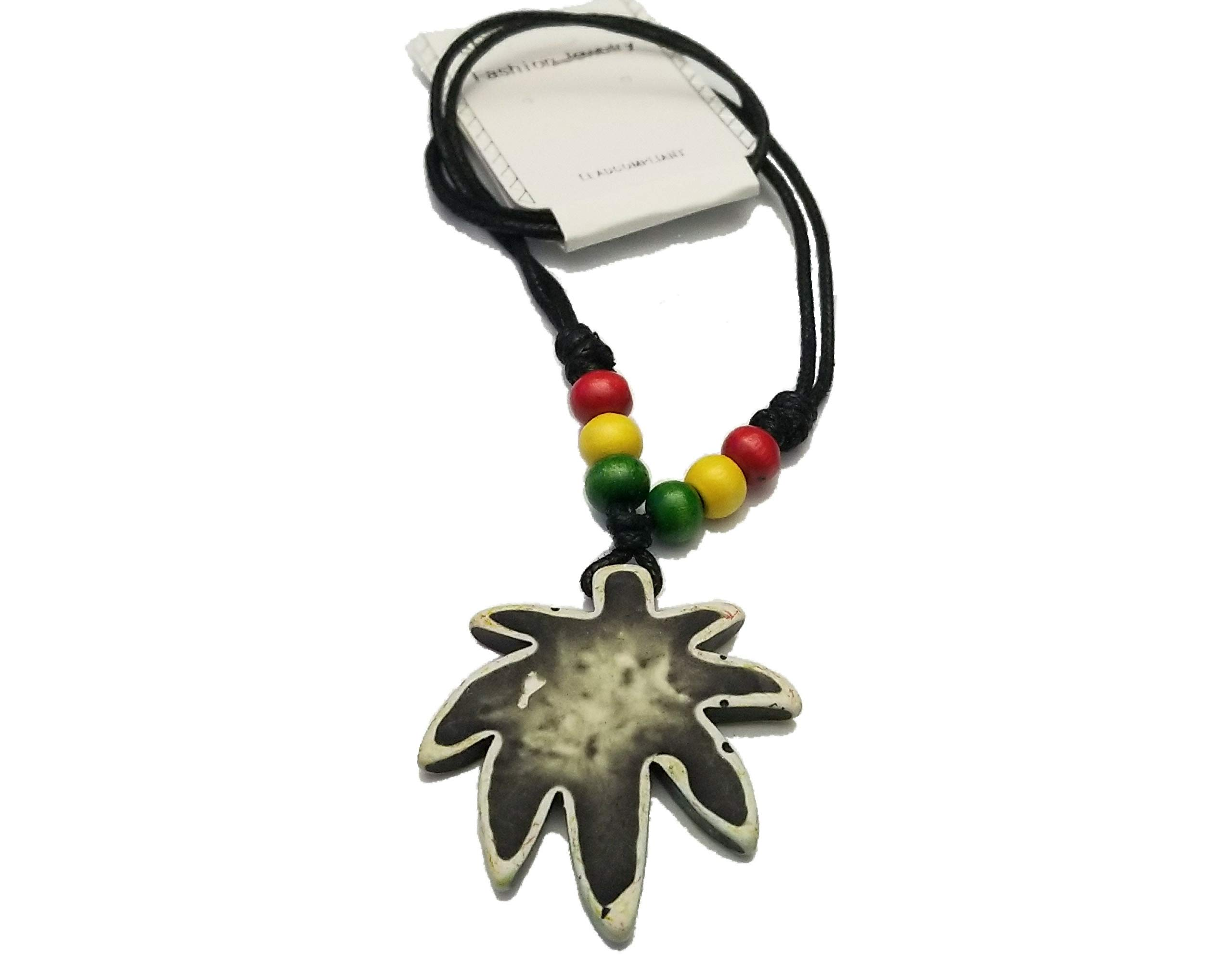BUNFIREs Marijuana Weed Pot Leaf Wooden Pendant Necklaces Necklace w/Hemp Keychain Key Chain