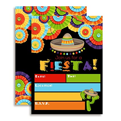 amazon com fiesta mexican themed party invitations for birthday