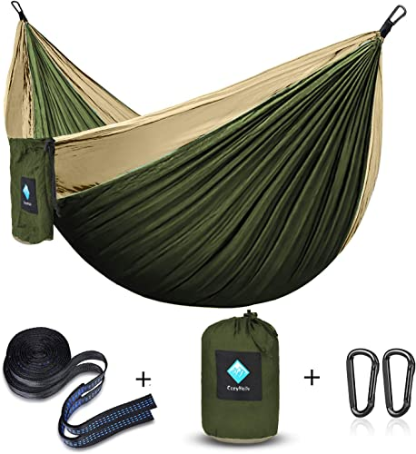 CozyHoliv Camping Hammock, Portable Parachute Hammocks for Outdoor Hiking Travel Backpacking – 210D Nylon Hammock Swing for Backyard Garden