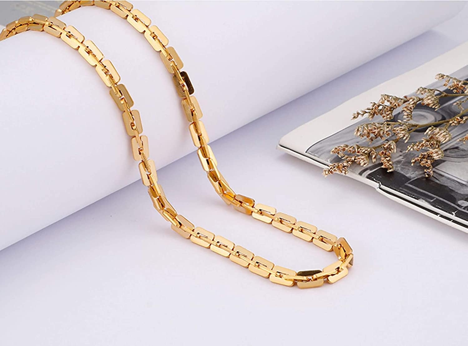 Gnzoe Stainless Steel Necklace Punk Biker Jewelry Oval Curb Chain Necklaces