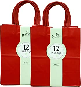 Gift Expressions 24CT Medium RED Biodegradable, Food Safe Ink & Paper, Premium Quality Paper (Sturdy & Thicker), Kraft Bag with Colored Sturdy Handles (Medium, Red)