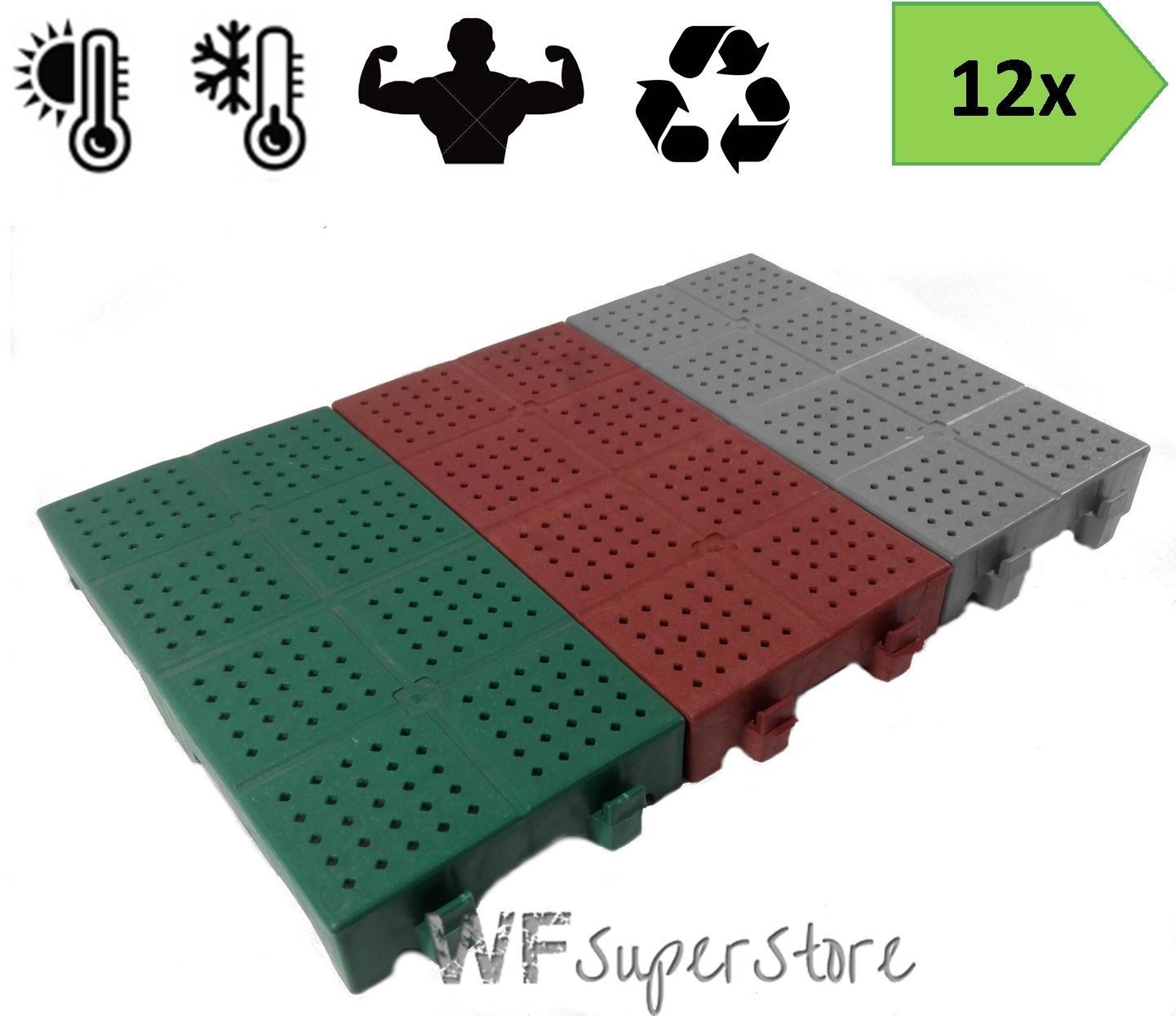Piastrella in plastica 40x20h5-12 pezzi Verde mattonella forata drenante giardino campeggio